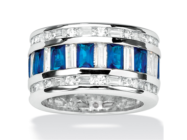 PalmBeach Jewelry 16.32 TCW Cubic Zirconia Blue Faceted Glass Accent Silvertone Eternity Band Ring