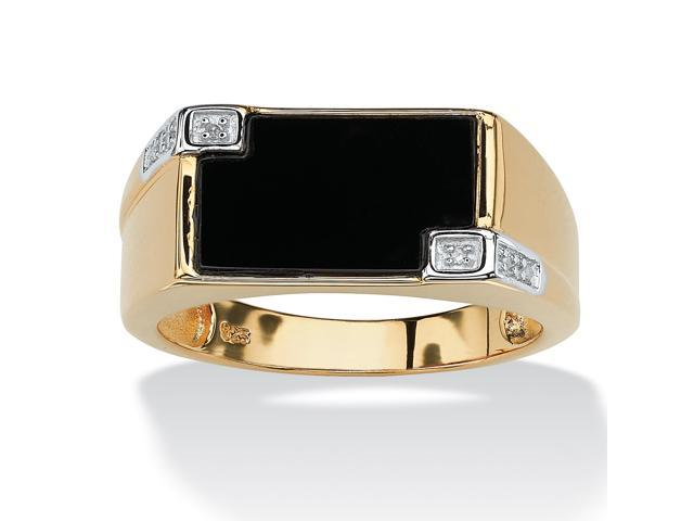 Men's Genuine Onyx and Diamond Accent Rectangular Ring in 18k Gold over .925 Sterling Silver