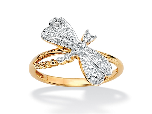 Diamond Accent 18k Gold over Sterling Silver Dragonfly Ring-483947