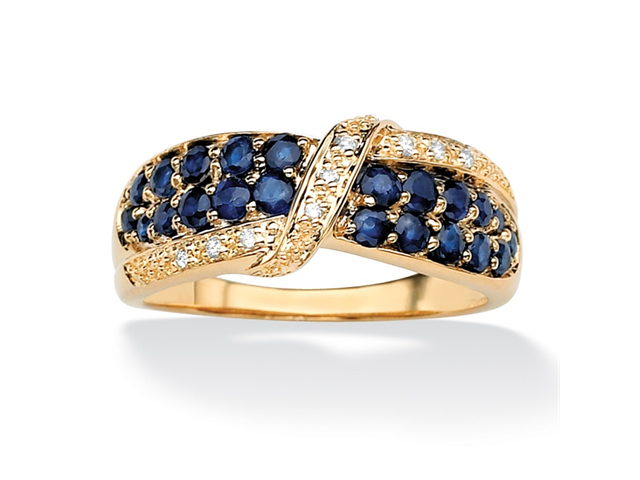 PalmBeach Jewelry 1.13 TCW Genuine Midnight Blue Sapphire 18k Gold over Sterling Silver Ring