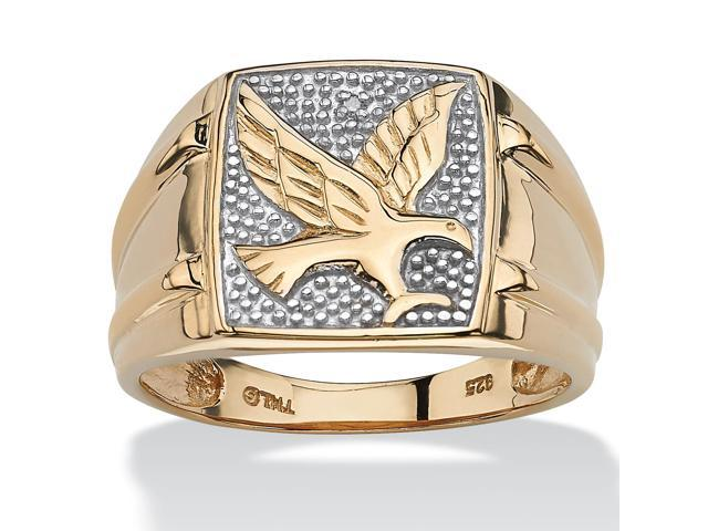PalmBeach Jewelry Men's Round Two-Tone Diamond Accent 18k Gold over Sterling Silver Eagle Ring