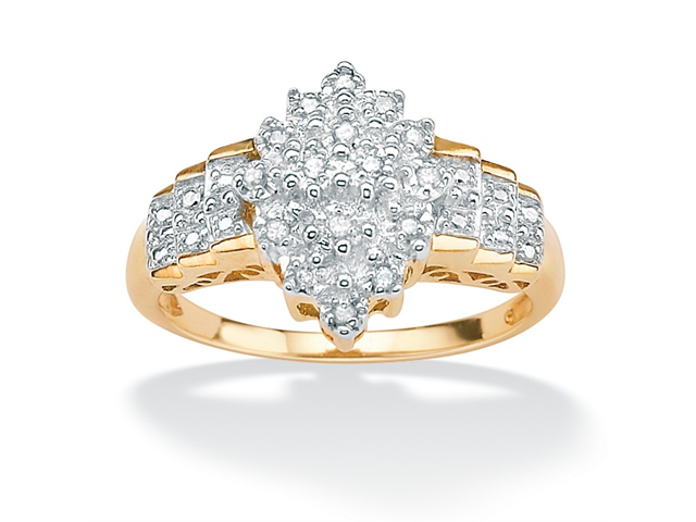 1/10 TCW Round Diamond Marquise-Shaped Step Ring in 18k Gold over .925 Sterling Silver