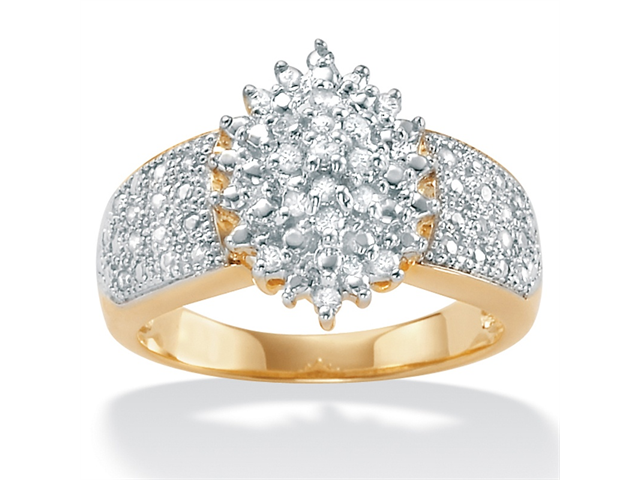 PalmBeach Jewelry 1/4 TCW Round Diamond 18k Gold over Sterling Silver Marquise-Shaped Cluster Ring