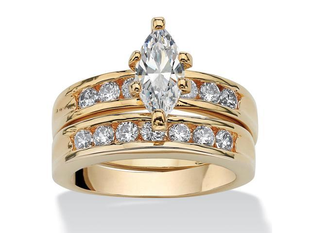 PalmBeach Jewelry 1.78 TCW Marquise-Cut Cubic Zirconia Two-Piece Bridal Set 14k Gold-Plated