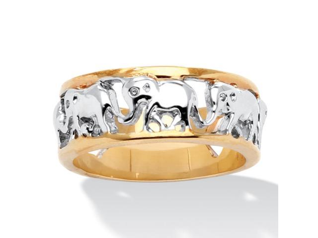 PalmBeach Jewelry Elephant Caravan Two-Tone Ring in 18k Gold-Plated