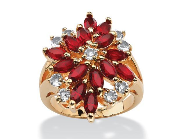Marquise-Cut Red Crystal Flower Cluster Cocktail Ring MADE WITH SWAROVSKI ELEMENTS 18k Gold-Plated