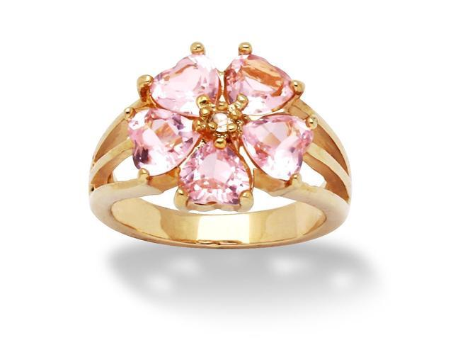 PalmBeach Jewelry 4 TCW Heart-Shaped Pink Cubic Zirconia 14k Yellow Gold-Plated Flower-Shaped Ring