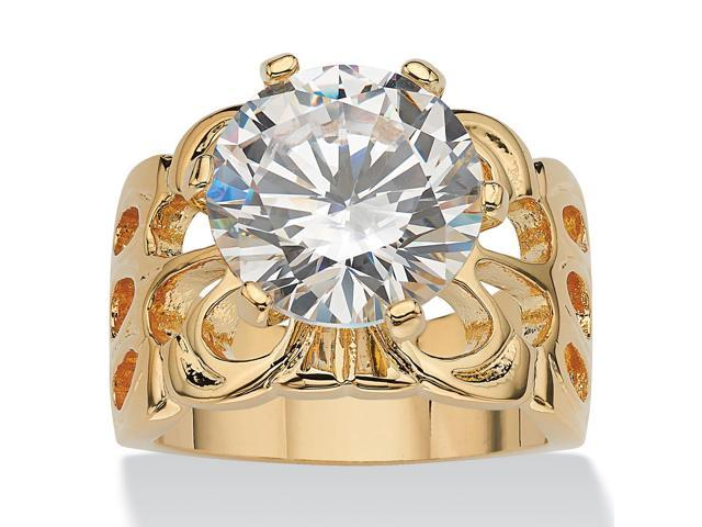 6 TCW Round Cubic Zirconia 14k Yellow Gold-Plated Bridal Engagement Filigree Solitaire Ring
