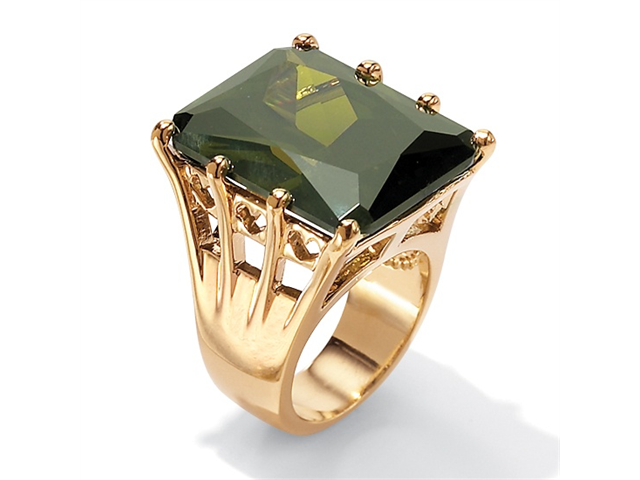PalmBeach Jewelry 35.40 TCW Olivine Cubic Zirconia Cocktail Ring in 18k Gold over Sterling Silver