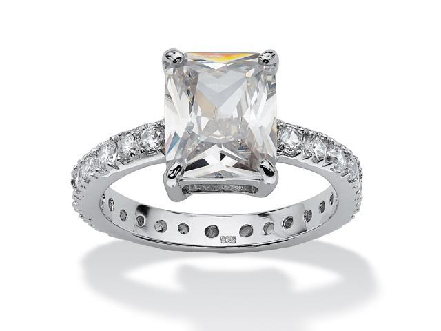 PalmBeach Jewelry 4.66 TCW Emerald-Cut Cubic Zirconia Platinum over Sterling Silver Eternity Ring