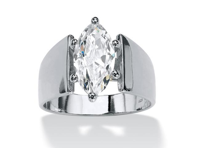 PalmBeach Jewelry 2.11 TCW Marquise-Cut Cubic Zirconia Sterling Silver Ring