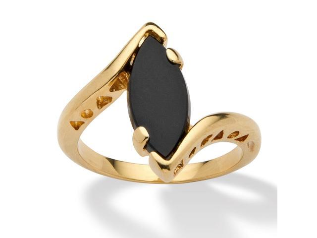 PalmBeach Jewelry Marquise-Shaped Genuine Onyx 14k Yellow Gold-Plated Classic Ring