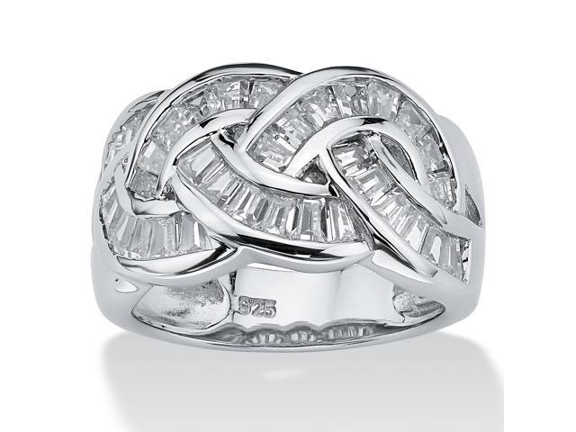 1.80 TCW Baguette Cut Cubic Zirconia Channel-Set Ring in Platinum over .925 Sterling Silver