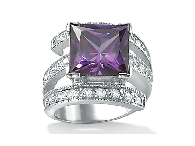 5.66 TCW Princess-Cut Purple Cubic Zirconia Sterling Silver Cocktail Ring Sizes 7-12
