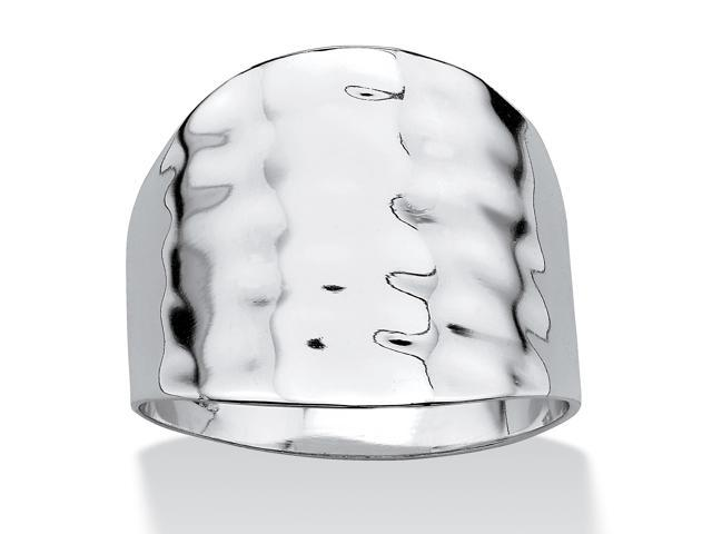 PalmBeach Jewelry Platinum-Plated Hammered-Style Cigar Band Ring