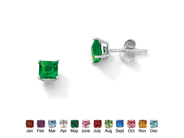 PalmBeach Jewelry Princess-Cut Birthstone Sterling Silver Stud Earrings - May- Simulated Emerald