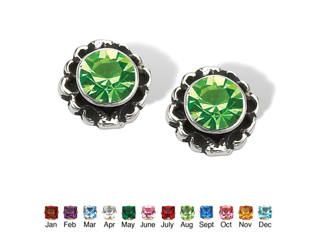 PalmBeach Jewelry Round Birthstone Stud Earrings in Sterling Silver - August- Simulated Peridot