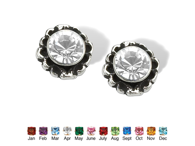 Round Birthstone Stud Earrings in Sterling Silver - April- Simulated Diamond-4724604