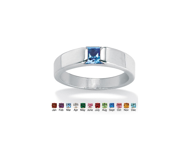 Princess-Cut Birthstone Stackable Ring in Sterling Silver - September- Simulated Sapphire