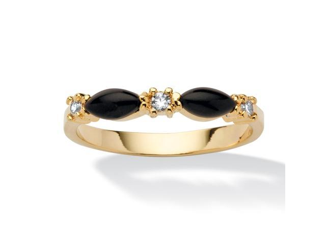 PalmBeach Jewelry Marquise-Shaped Genuine Black Onyx Crystal Accent 14k Yellow Gold-Plated Ring