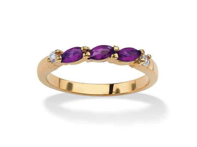 Marquise-Cut Birthstone with Cubic Zirconia 18k Gold-Plated Ring - February- Simulated Amethyst