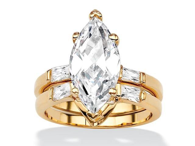 4.42 TCW Marquise-Cut Cubic Zirconia 18k Gold-Plated Bridal Engagement Ring Wedding Band Set-506836