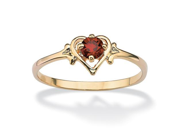 Oval-Cut Birthstone Heart-Shaped Ring in 14k Gold-Plated - January- Simulated Garnet
