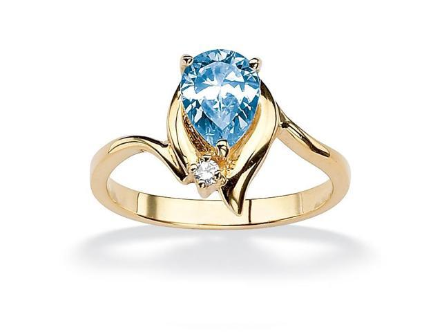 Pear-Cut Birthstone and Crystal Accent Ring 18k Gold-Plated - March- Simulated Aquamarine