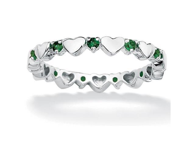 Birthstone Stackable Eternity Heart Ring in .925 Sterling Silver - May- Simulated Emerald