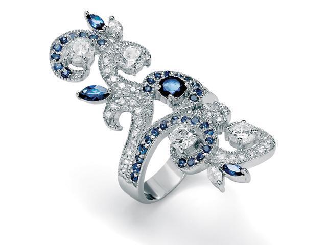 PalmBeach Jewelry 1.68 TCW Round Cubic Zirconia and Blue Crystal Silvertone Swirl Ring