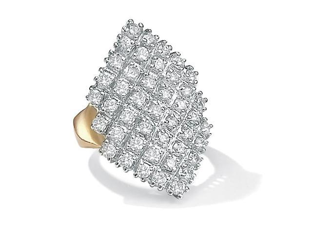 PalmBeach Jewelry 2.58 TCW Round Cubic Zirconia 14k Gold-Plated Marquise-Shaped Cocktail Ring