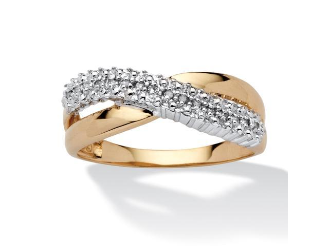 PalmBeach Jewelry Diamond Accent Crossover Ring in 10k Yellow Gold