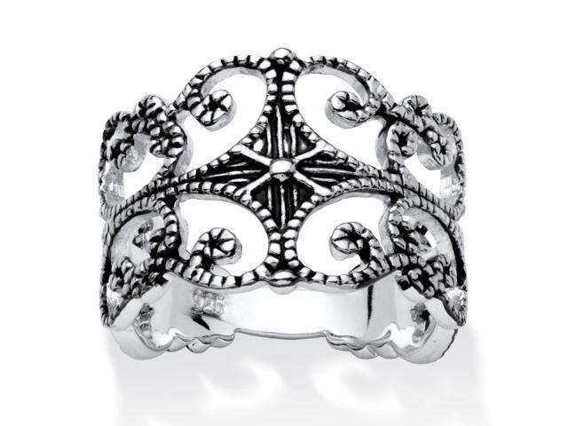 PalmBeach Jewelry Sterling Silver Antique-Finish Filigree Band Ring