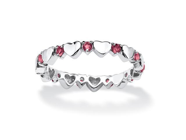 PalmBeach Jewelry Birthstone Stackable Eternity Heart Ring in .925 Sterling Silver
