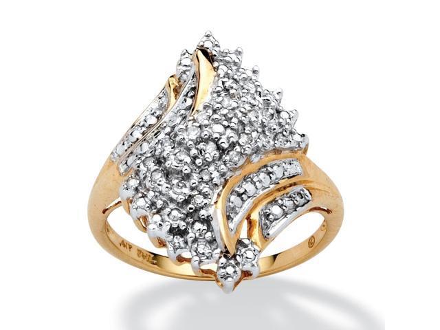 PalmBeach Jewelry 1/10 TCW Round Diamond Swirled Ring in 10k Gold