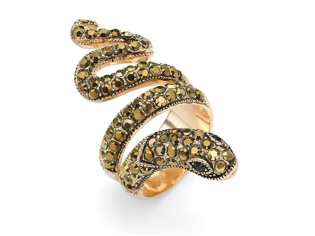 PalmBeach Jewelry Round Brown and Black Crystal 14k Yellow Gold-Plated Coiled Snake Ring