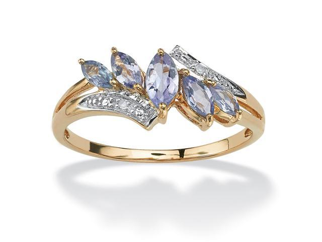 .77 TCW Genuine Purple Tanzanite with Diamond Accent 18k Gold over Sterling Silver Ring