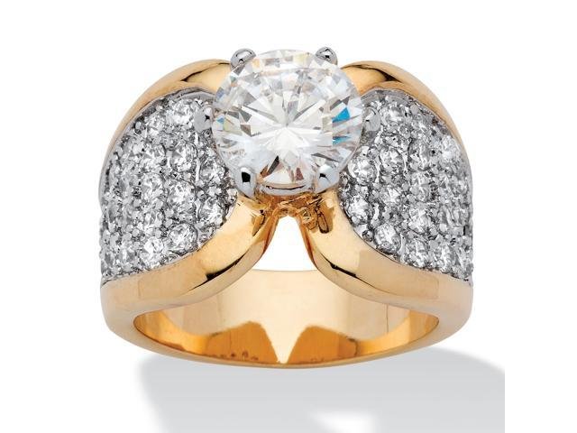 4.65 TCW Round Cubic Zirconia & Pave Accent 14k Gold-Plated Engagement Anniversary Ring