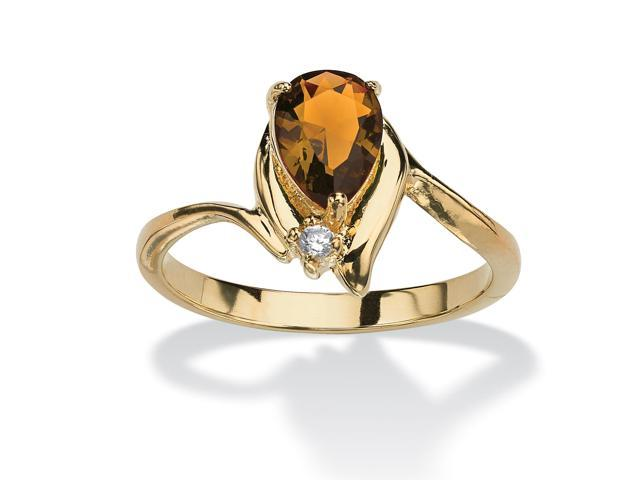 Pear-Cut Birthstone and Crystal Accent Ring 18k Gold-Plated - November- Simulated Citrine