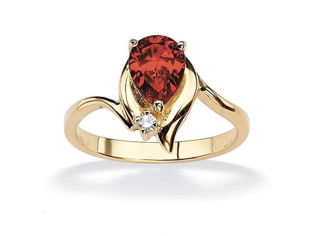 Pear-Cut Birthstone and Crystal Accent Ring 18k Gold-Plated - January- Simulated Garnet