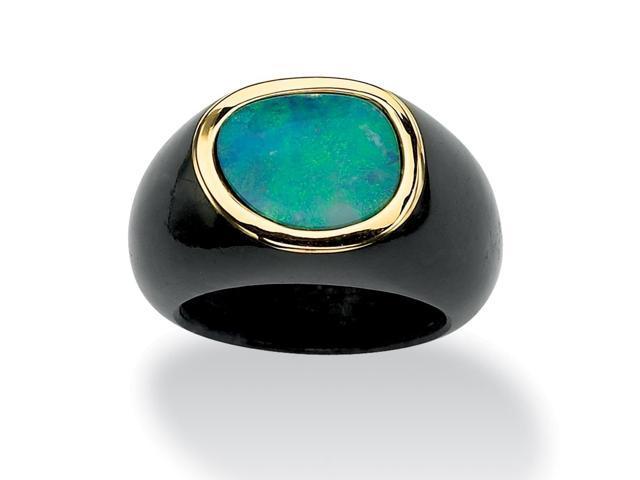 PalmBeach Jewelry Genuine Blue Opal and Black Jade 10k Yellow Gold Bezel-Set Cabochon Ring