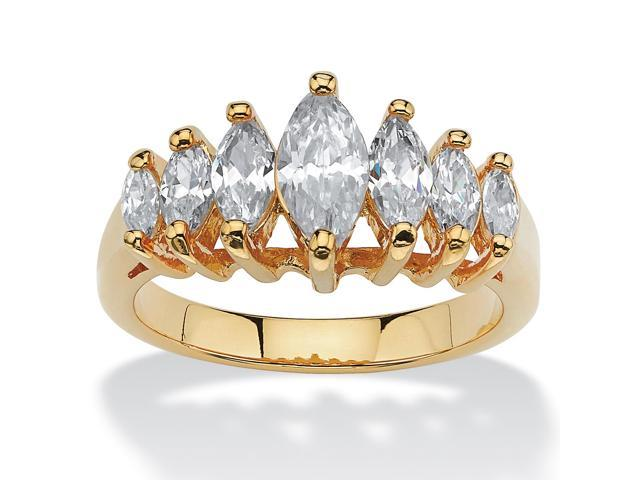 1.50 TCW Marquise-Cut Cubic Zirconia 14k Yellow Gold-Plated Engagement Anniversary Ring
