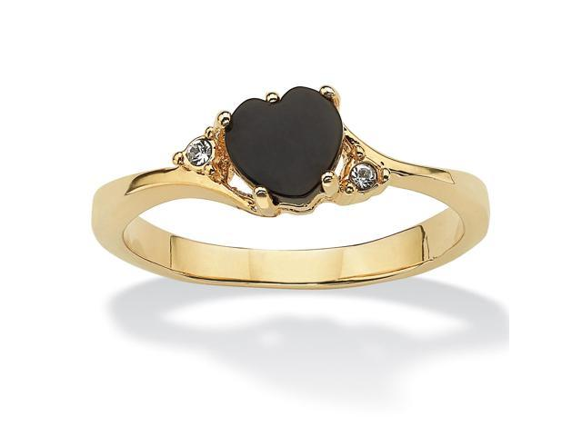 PalmBeach Jewelry Heart-Shaped Genuine Onyx and Crystal Accent 14k Yellow Gold-Plated Ring