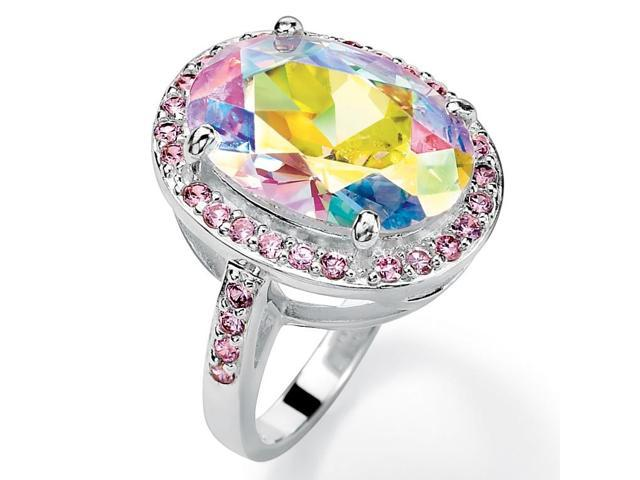 PalmBeach Jewelry 13.57 TCW Oval-Cut Aurora Borealis Cubic Zirconia Pink CZ Accent Silvertone Ring
