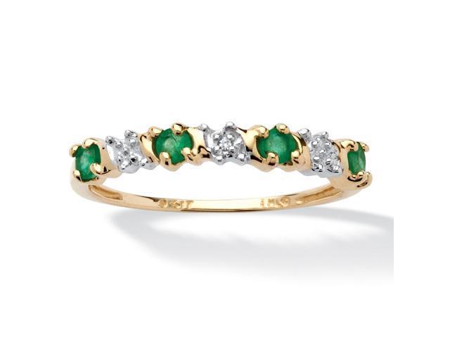 PalmBeach Jewelry .32 TCW Genuine Round Emerald and Diamond accent Band in 10k Gold
