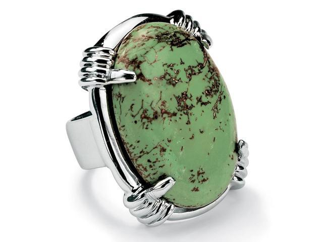 PalmBeach Jewelry Oval Shape Green Genuine Turquoise Silvertone Cocktail Ring