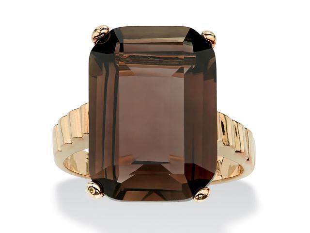 PalmBeach Jewelry 10.75 TCW Emerald-Cut Smoky Quartz Ring in 14k Gold-Plated