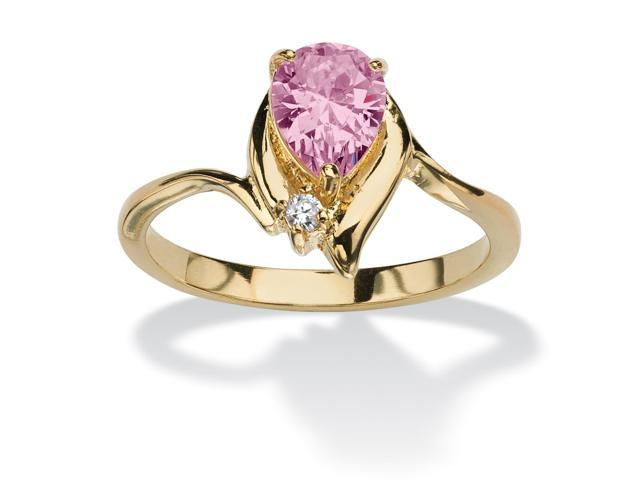 Pear-Cut Birthstone and Crystal Accent Ring 18k Gold-Plated - June- Simulated Alexandrite