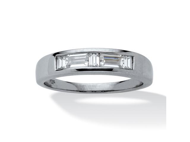 1 TCW Baguette-Cut Cubic Zirconia Wedding Ring in Platinum over Sterling Silver Sizes 8-16
