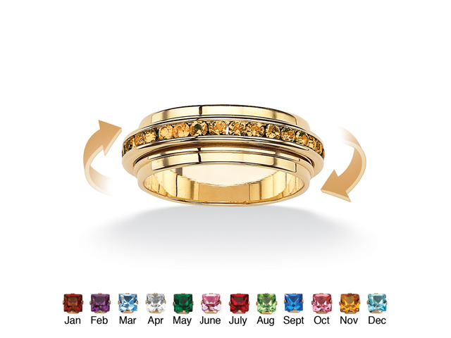 Round Birthstone 14k Gold-Plated Eternity Spinner Band - November- Simulated Citrine